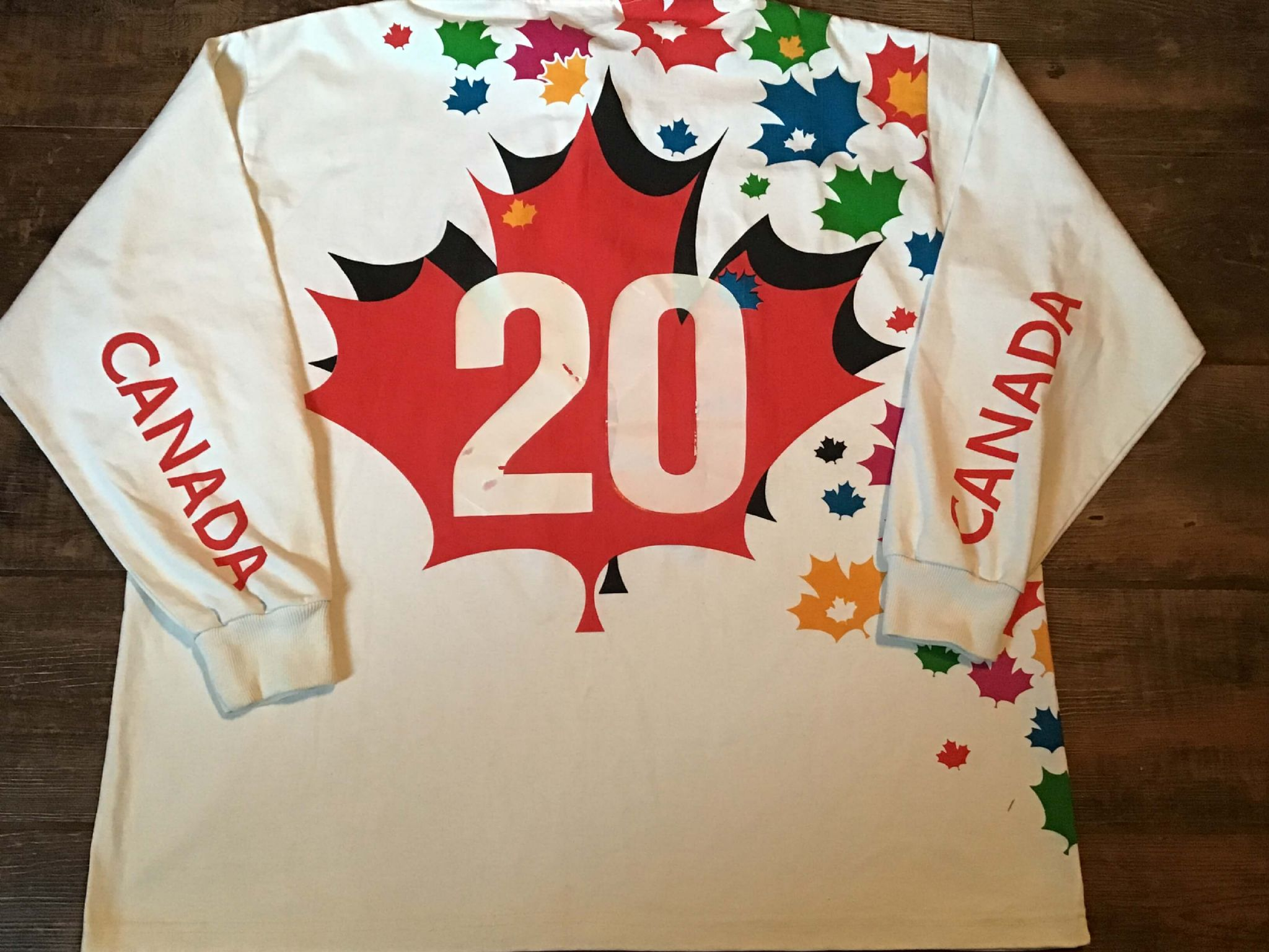 67b0c2058e5 1995 Canada World Cup Player Issue No 20 Rugby Union L/s Shirt XXL 2XL