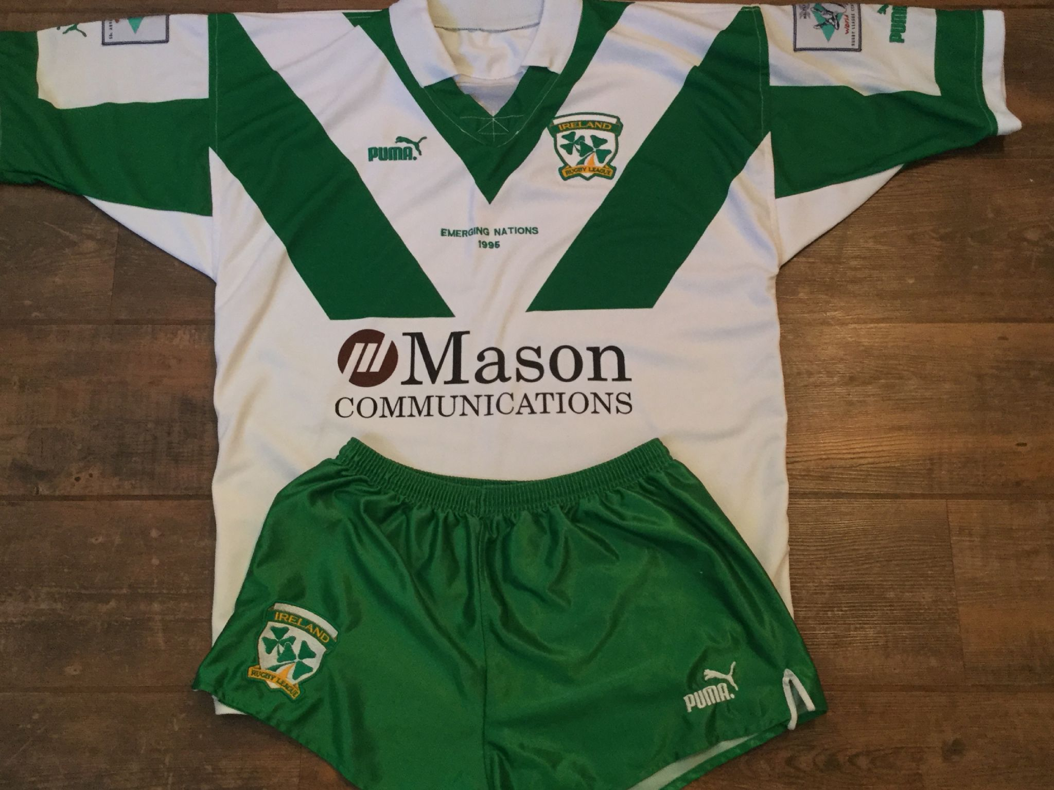 20895e3709f1f 1995 Ireland Player Issue Rugby League Shirt & Shorts Adults Large