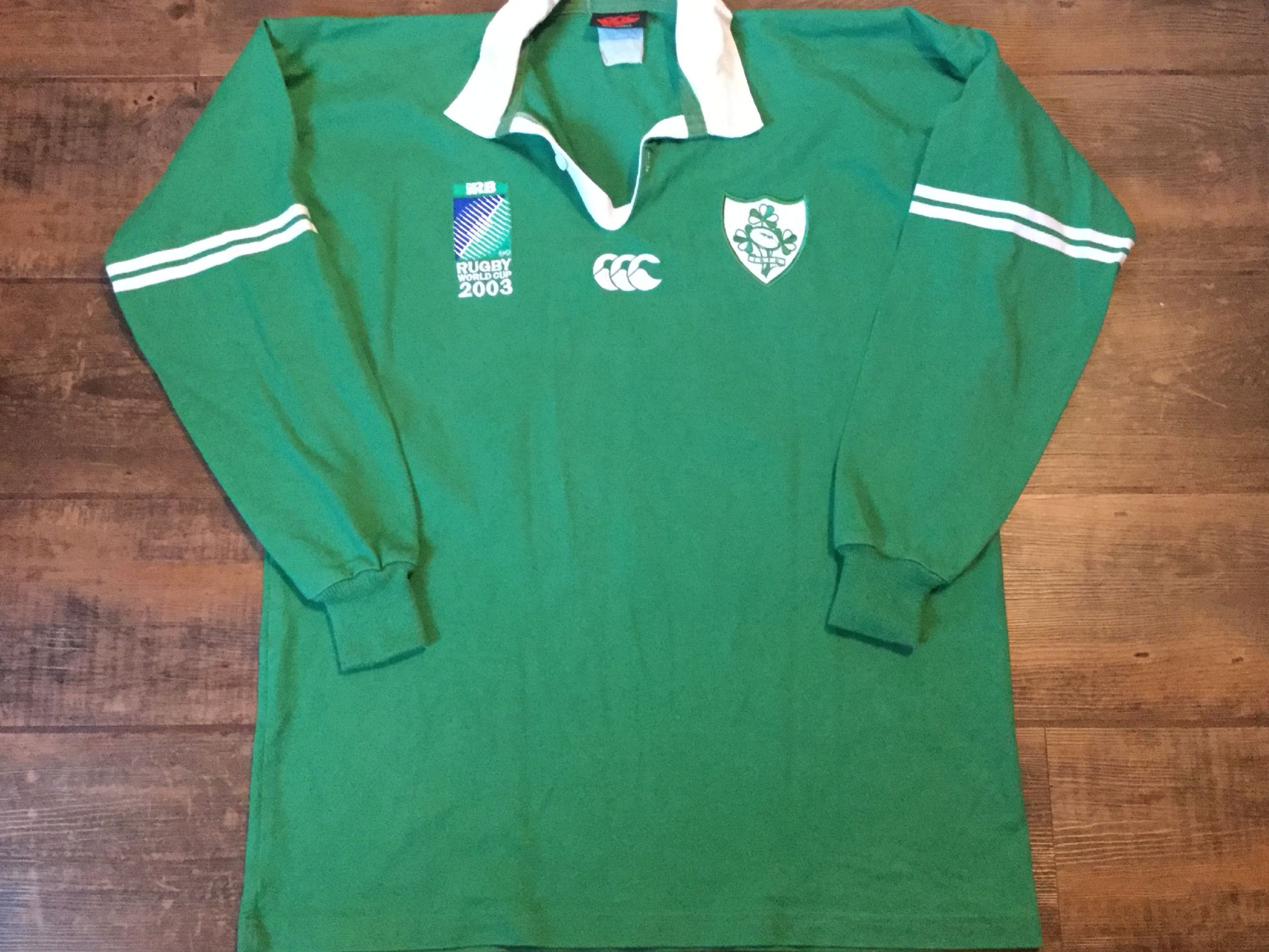 f9c29ea92f9 2003 Ireland World Cup Player Issue No 21 L/s Rugby Union Shirt Adults XL