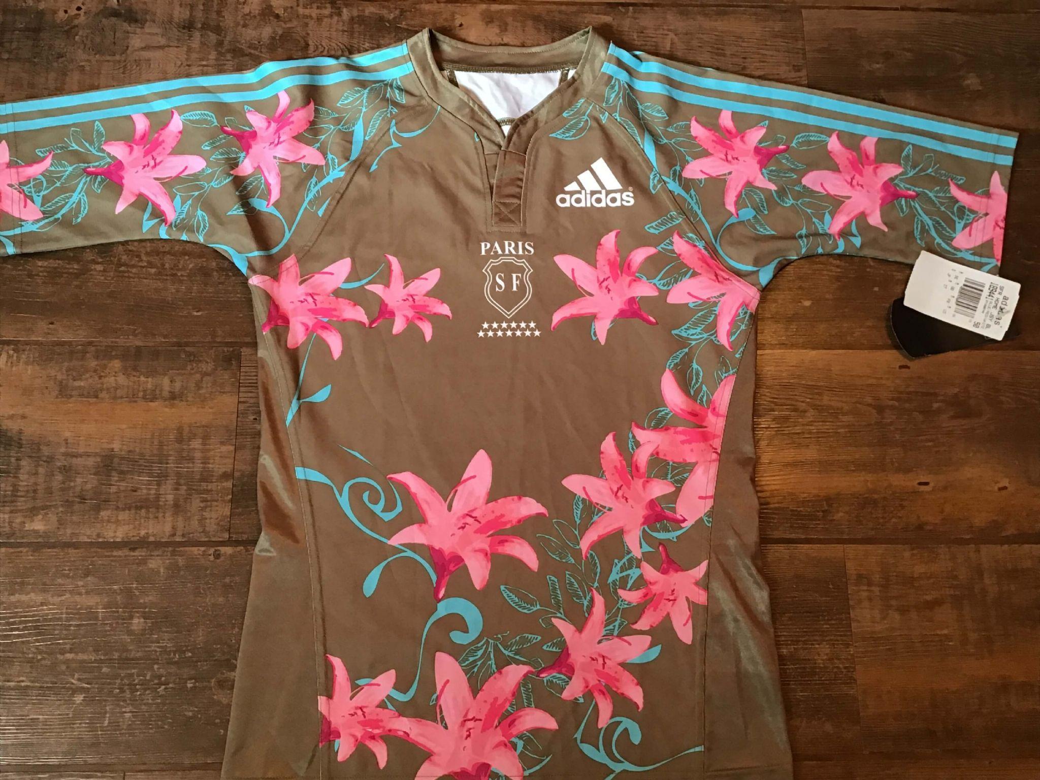 Benetton Rugby Shirt-Blanc-Royal Bleu-Bnwt