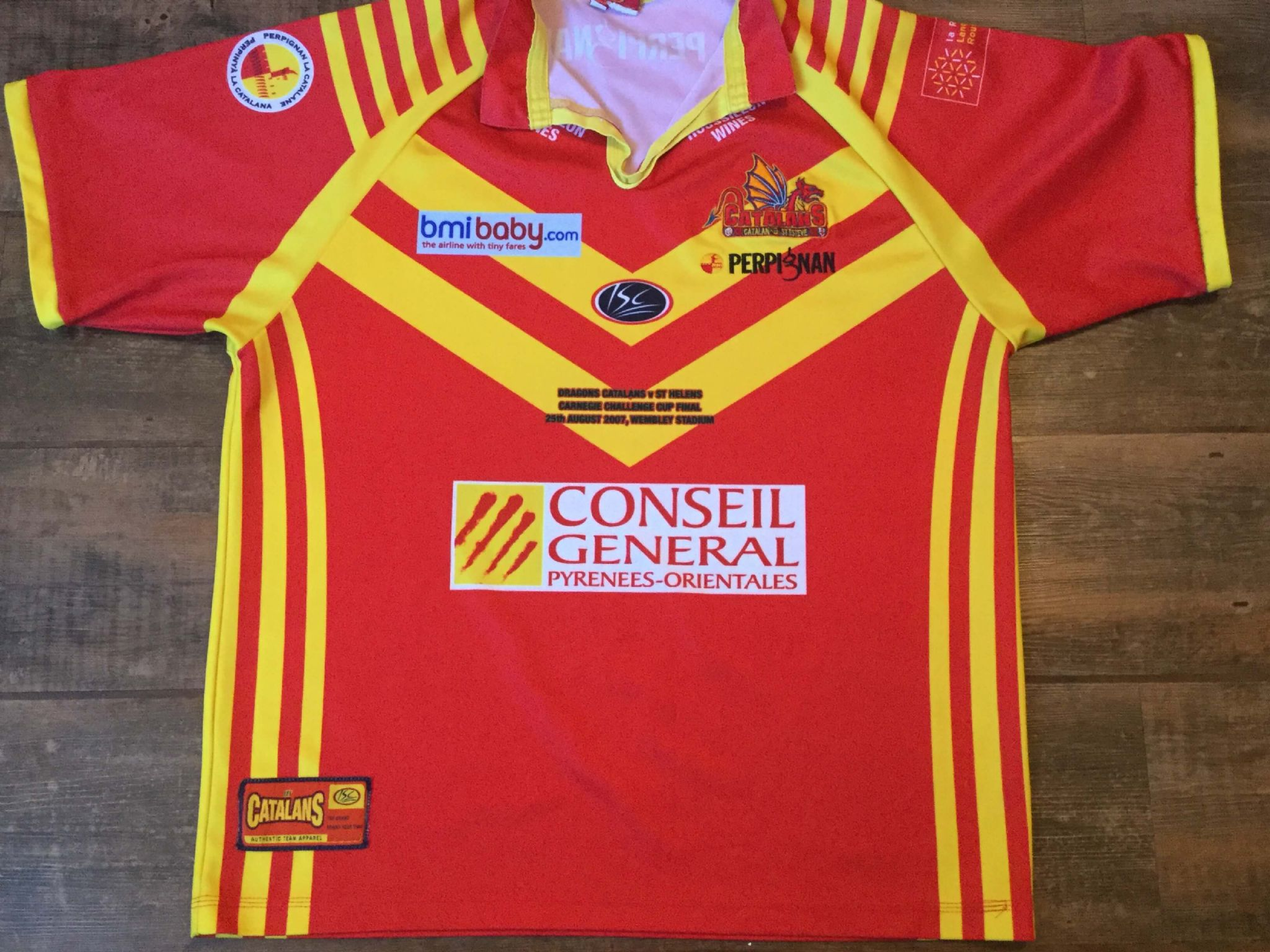 376d74211 2007 Catalans Dragons Challenge Cup Final Rugby League Shirt Adults Large