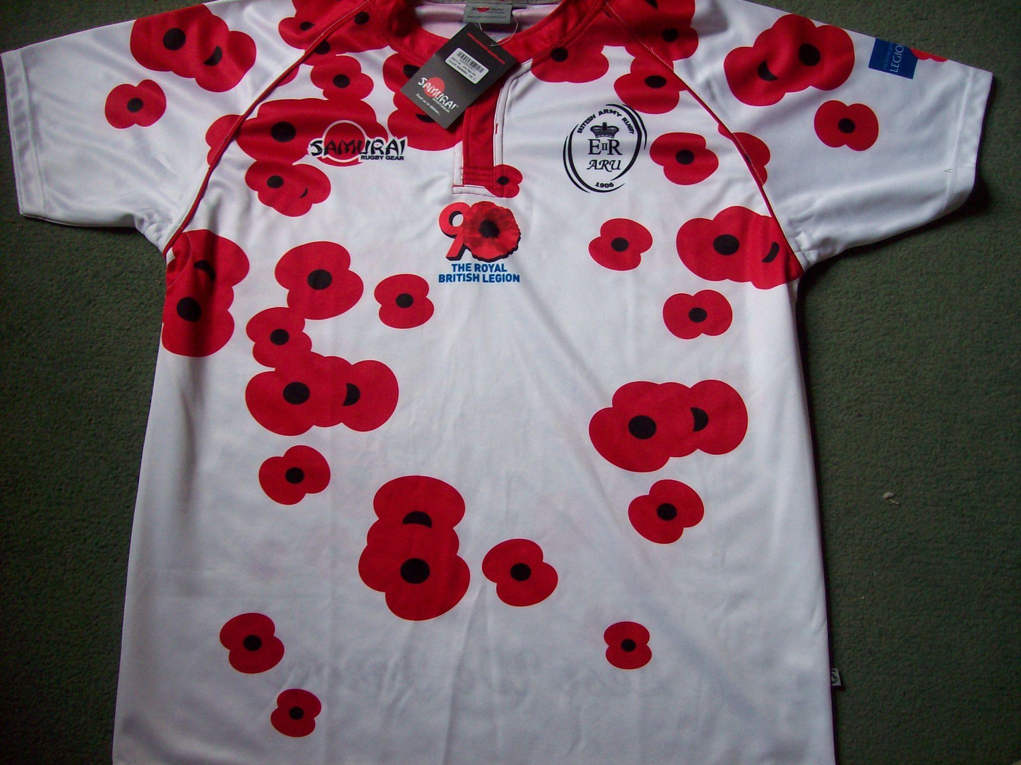 3e532b76bb3 British Army BNWT New Poppy Rugby Union Shirt Adults M / L / XL